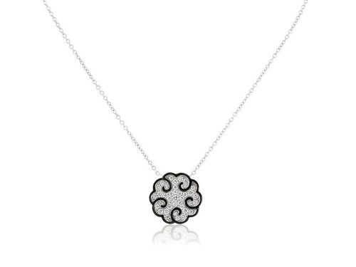 LaViano Jewelers 18K White Gold Diamond and Enamel Necklace