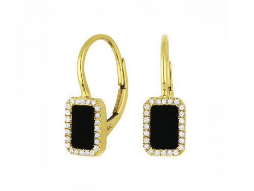 Image of 14K Yellow Gold Black Onyx and Diamond Earrings with diamonds weighing 0.12 carat.