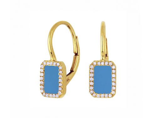 Image of 14K Yellow Gold Turquoise and Diamond Earrings with diamonds weighing 0.12 carat.