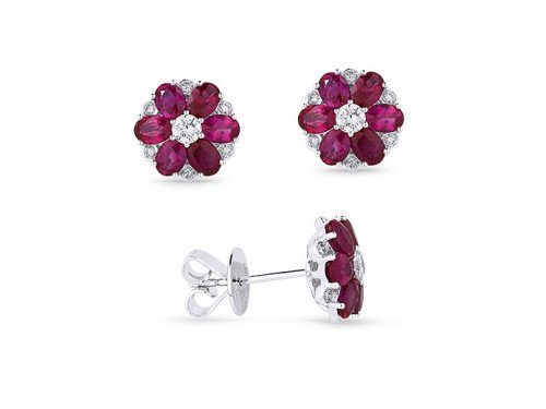 Image of 14K White Gold Ruby and Diamond Earrings with diamonds weighing 0.34 carat.