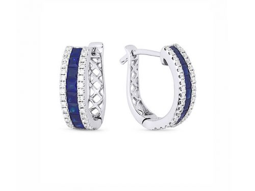 Image of 14K White Gold Sapphire and Diamond Hoop Earrings with diamonds weighing 0.26 carat.