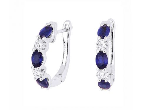 Image of 14K White Gold Sapphire and Diamond Hoop Earrings with diamonds weighing 0.36 carat.