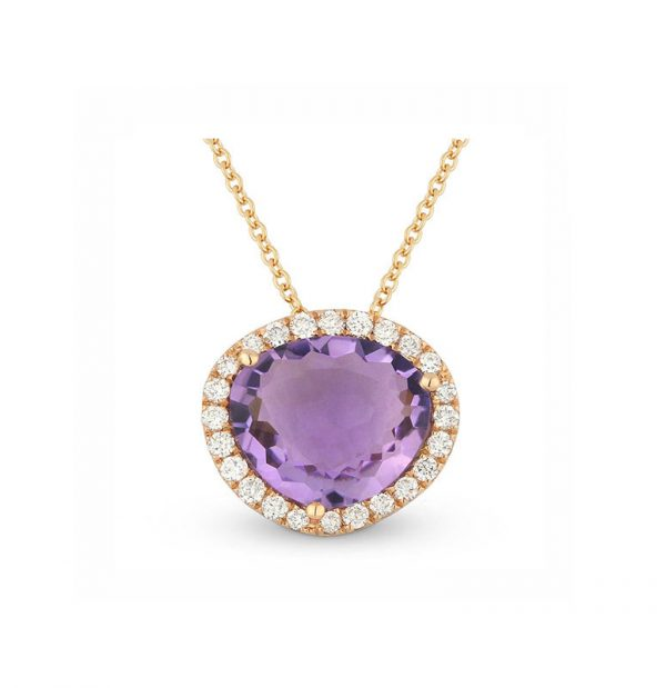 Image of 14K Rose Gold Amethyst and Diamond Necklace with diamonds weighing 0.24 carat.