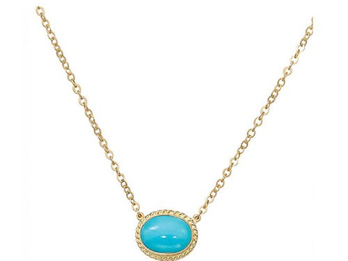 Image of 14K Yellow Gold Turquoise Necklace