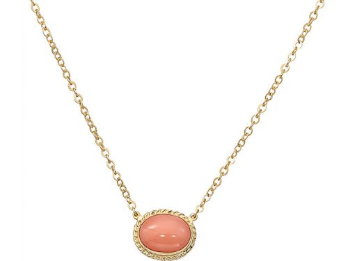Image of 14K Yellow Gold Coral Necklace