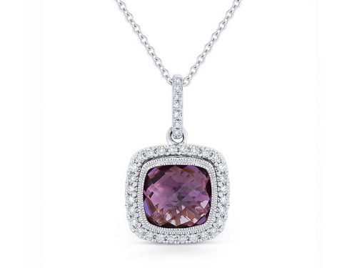 Image of 14K White Gold Amethyst and Diamond Necklace with diamonds weighing 0.24 carat.