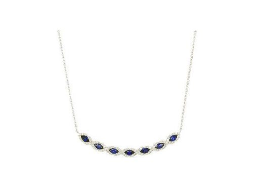 Pe Jay Creations 14K White Gold Diamond and Sapphire Necklace