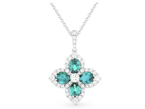 LaViano Jewelers 14K White Gold Blue Topaz and Diamond Necklace