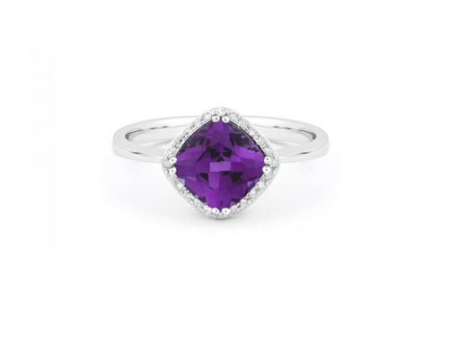 LaViano Jewelers 14K White Gold Amethyst and Diamond Ring