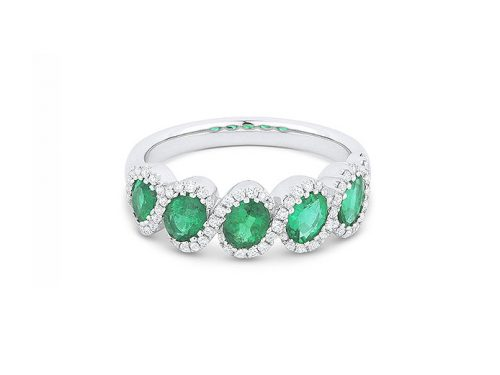 Image of white gold and emerald ring