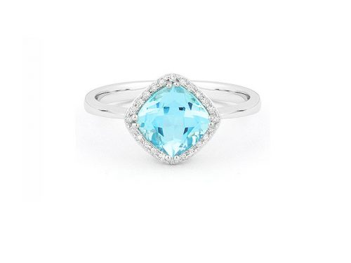 image of a LaViano Jewelers 14K White Gold Blue Topaz and Diamond Ring with diamonds weighing 0.07 carat.