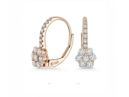 Image of 14K Rose Gold Diamond Drop Flower Earrings with diamonds weighing 0.75 carat.