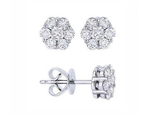 Image of 14K White Gold Diamond Flower Earrings with diamonds weighing 0.54 carat.