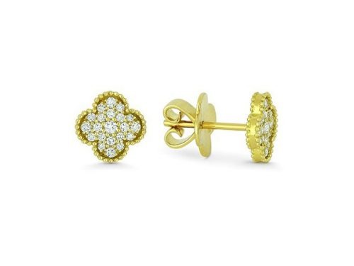 Image of 14K Yellow Gold Diamond Clover Earrings with diamonds weighing 0.35 carat.