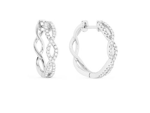 Image of 14K White Gold Diamond Hoop Earrings with diamonds weighing 0.46 carat.