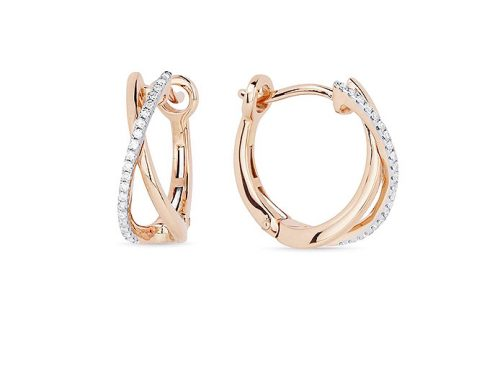 Image of 14K Rose Gold Diamond Hoop Earrings with diamonds weighing 0.11 carat.