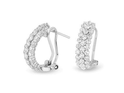 Image of 14K White Gold Diamond Hoop Earrings with diamonds weighing 1.43 carat.