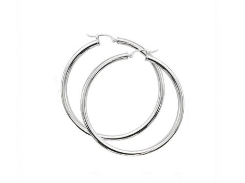 Image of white gold hoop earrings