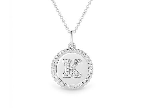 Image of 14K White Gold Diamond Initial K Necklace with diamonds weighing 0.05 carat