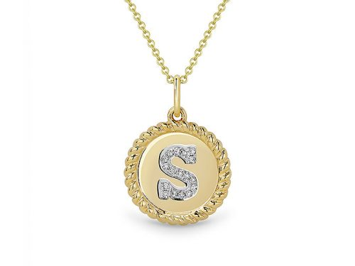 Image of 14K Yellow Gold Diamond Initial S Necklace with diamonds weighing 0.05 carat.