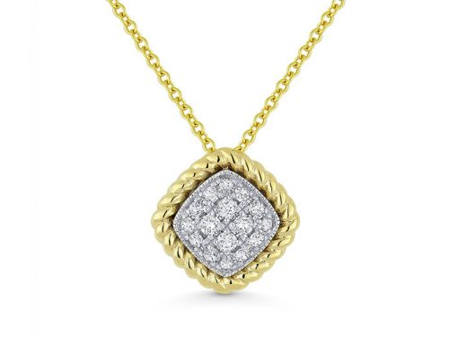 Image of 14K Two Tone Diamond Necklace with diamonds weighing 0.18 carat.