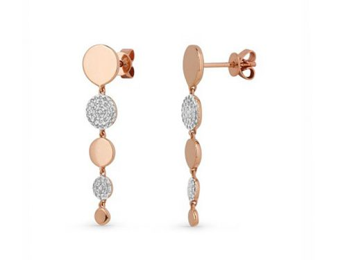 14K Rose Gold Diamond Drop Earrings