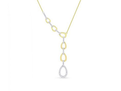 14K Yellow Gold Diamond Chain Link Necklace