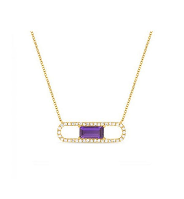 14K Rose Gold Diamond and Amethyst Paper Clip Necklace
