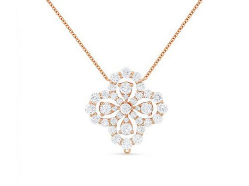 14K Rose Gold Diamond Clover Pendant