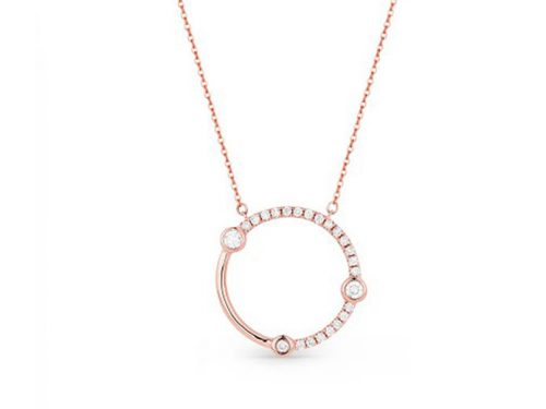 14K Rose Gold Diamond Circle Necklace