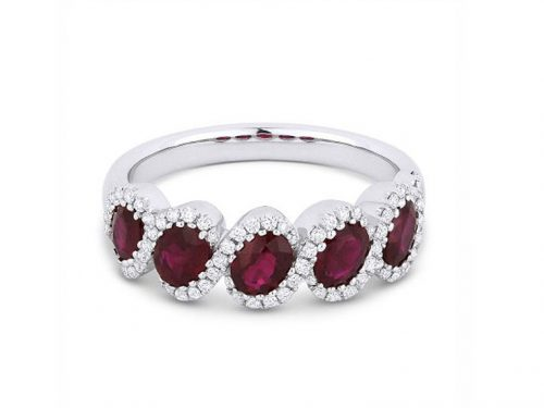 18K White Gold Ruby and Diamond Swirl Ring