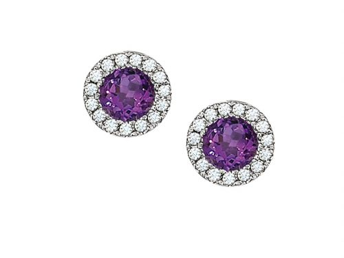 LaViano Fashion 14K White Gold Amethyst Stud Earrings