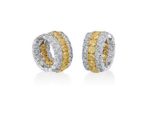 Pichiotti 18K White Gold Fancy Yellow and White Diamond Earrings