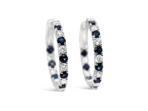 LaViano 14K White Gold Sapphire and Diamond Hoop Earrings