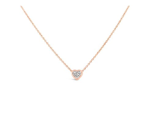 LaViano Jewelers 14K Rose Gold Bezel Set Heart Shaped Diamond Pendant