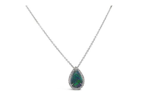 LaViano Jewelers 14K White Gold Pear Shaped Opal and Diamond Pendant Necklace