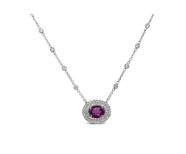 Platinum and 18K White Gold Oval Shaped Pink Sapphire and Diamond Necklace
