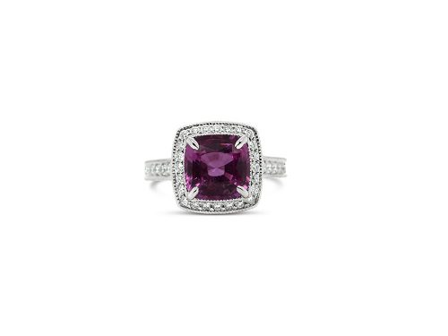 LaViano Jewelers Platinum Pink Sapphire Antique-Style Ring