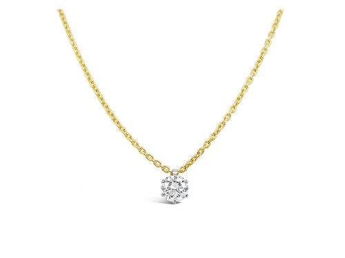 LaViano Jewelers 18K Yellow and White Gold Diamond Solitaire Pendant