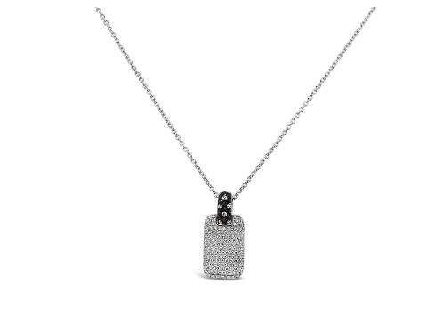 LaViano Jewelers 18K White Gold Pave Diamond Dog tag Necklace