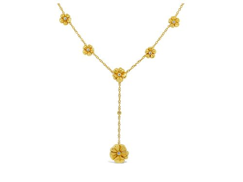 LaViano Jewelers 18K Yellow Gold Flower Drop Necklace
