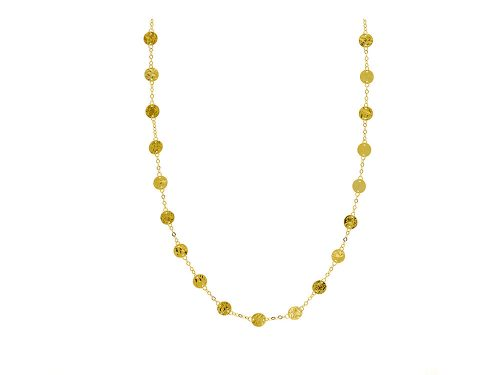LaViano Jewelers 14K Yellow Gold Hammered Disc Necklace