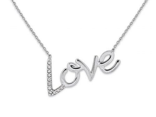 LaViano Jewelers 14K White Gold Diamond Love Necklace containing diamonds weighing 0.07cts. Also available in 14K Yellow Gold.