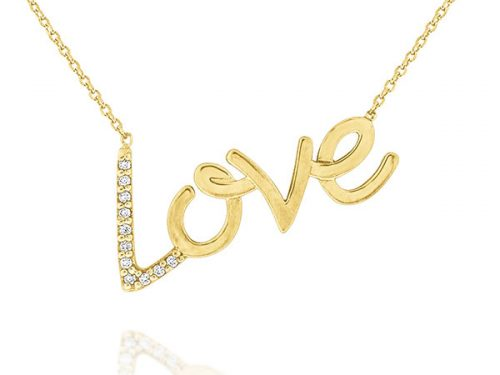 LaViano Jewelers 14K Yellow Gold Diamond Love Necklace containing diamonds weighing 0.07cts. Also available in 14K Yellow Gold.